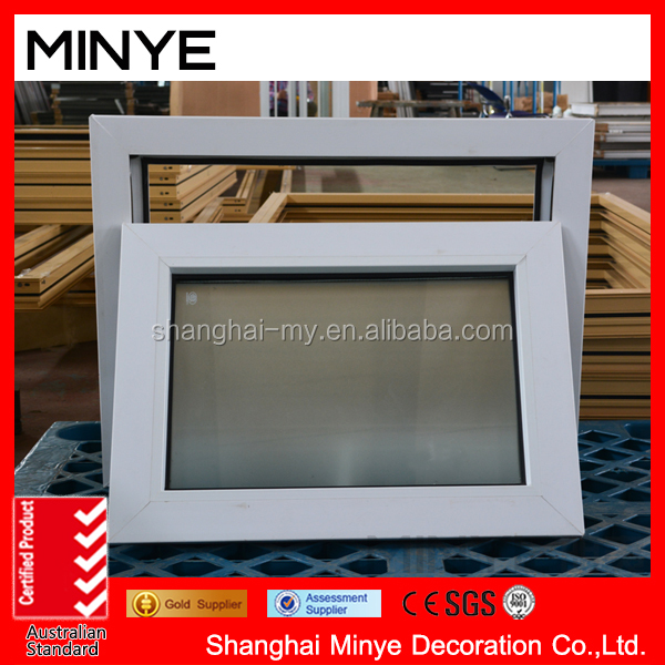 big gass UPVC frame awning window invisible and handle lock