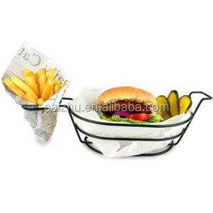 Cooking fry basket metal wire mesh fast food chips storage baskets
