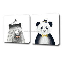 Lovely Animals Print Paintings Art On Canvas 2 Pieces Group Prints Stretched Free Sample