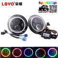 "LOYO Bluetooth control 7"" 7 inch h4 led RGB round led headlight for jeep headlight"