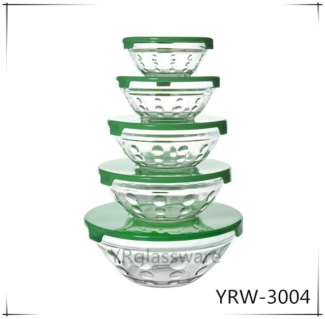 Most Welcomed Logo Printed Glass Bowl in 5 sizes with color plastic lid bow