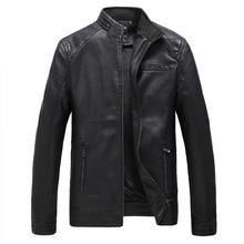 MSW0019 Foreign trade explosion plus-size MENS leather Vintage slim PU washed leather jacket