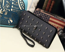 Fashion wallet long pu leather purse clutch vintage punk skull rivets wallet