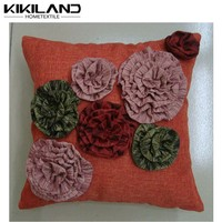 Decorative ruffle flower pillow case wholesale leather sofa seat cushion covers