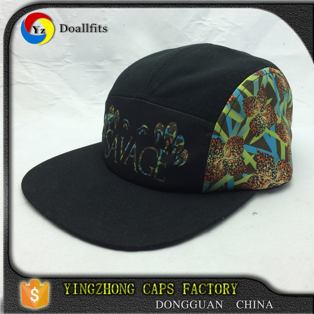 2015 new design your own polyester/cotton black 5 panel hat with printing
