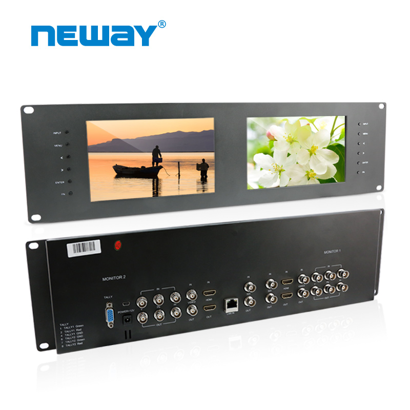 "7 Inch Twin/Dual/Double Rack Mount Colour Broadcast Monitors 7"" HD 3G-SDI AV Ypbpr"