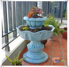Unique Wholesale Succulent Plants Two Tier Resin Garden Fountain Planter