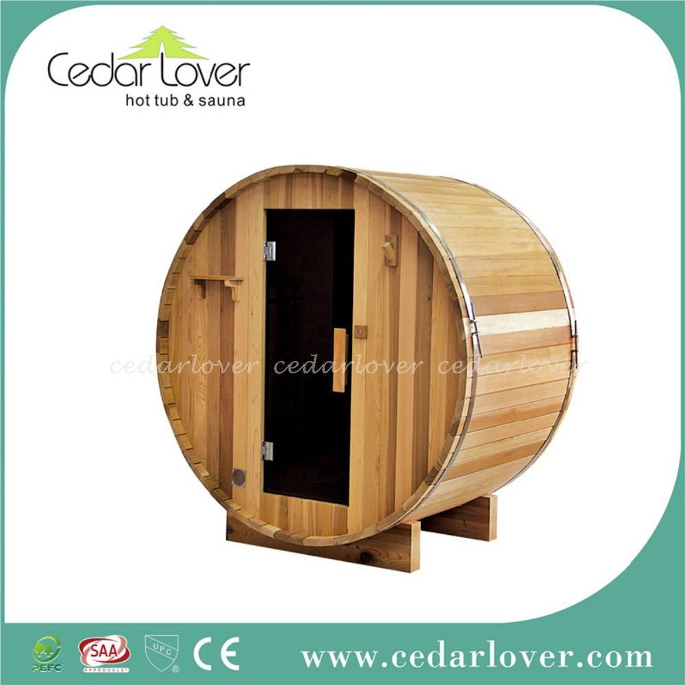 Red cedar potable outdoor sauna and steam combined room