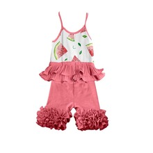hot sale popular children clothing watermelon printing sling top and ruffle pants for baby girls