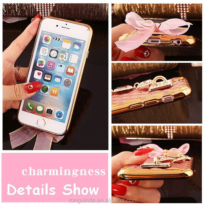 Hot New Products Case For Girls Factory Price Cell Phone Case Handmade Bling Diamond Mobile Phone Case For Iphone 6 For iPhone 7