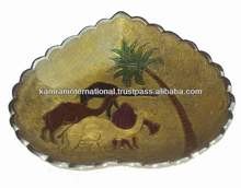Gold Silver plated decorative dry fruit platter, decorative dates platter, biscuit platter, Eid gift, Deepawali gift,