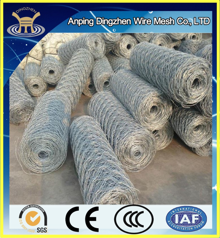 PVC coated Galvanized hexagonal woven wire mesh gabion price/ 3*1*1m double twist Gabion Box