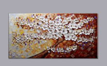 100% Hand-painted modern home decor abstract wall art picture white flower on brown thick palette knife oil painting on canvas