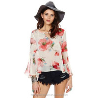 Big Flower Perspective Back Slit V Horn Sleeve On The Round Collar Women Chiffon Long-Sleeved Shirt Blouses In Lace