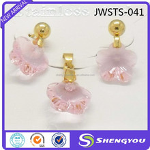 Pink Flower Crystal Hot Sale African Jewelry Set 18k Gold Plated