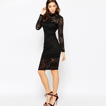 China Manufacture Lady Office Dresses Knit Woman Casual Lace Dress