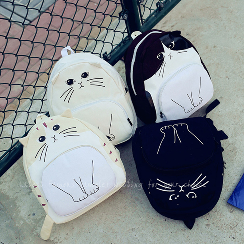 Functional Funny Cute Canvas Double shoulder Cat School Girls Backpack