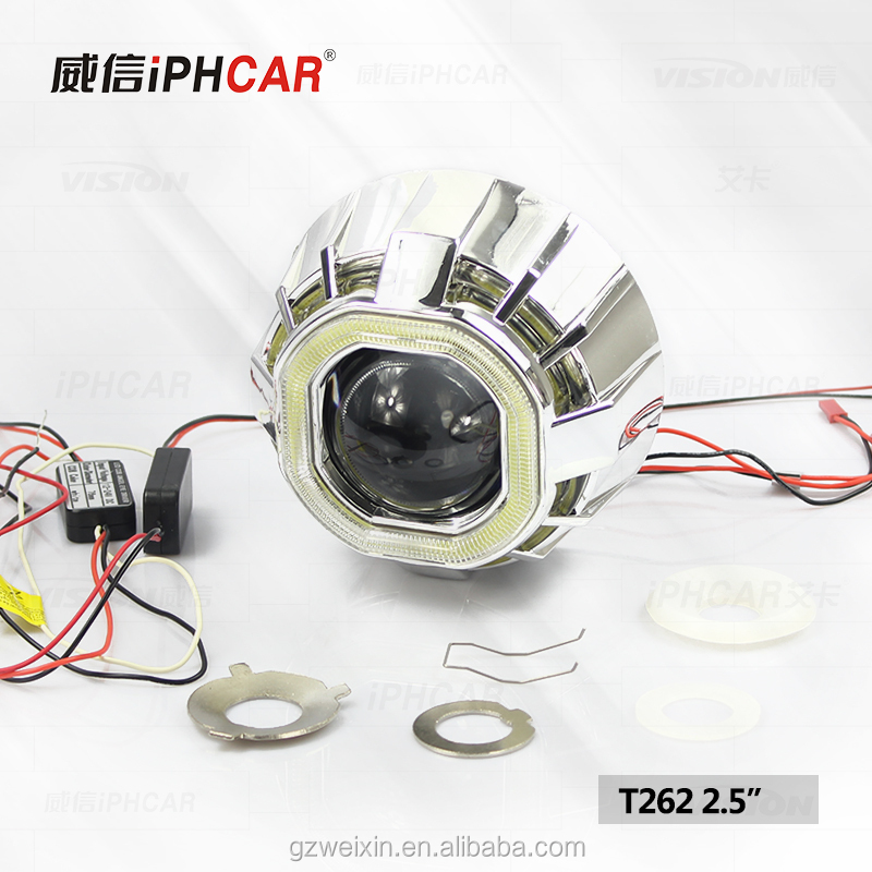 Guangzhou Auto parts Universal Car Accessories Spare Parts square Projector Lens double COB Angel eyes headlight for all car