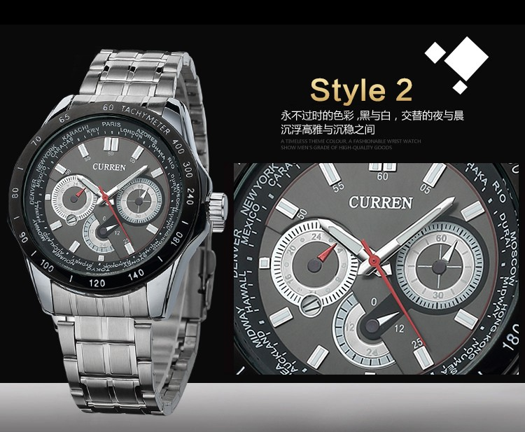 curren 8150 brand men luxury japanese movement quartz watch male business date function men military stainless steel wrist watch