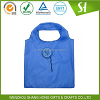 blue flower shaped cheap nylon foldable shopping bag/210D polyester folding shopping bag