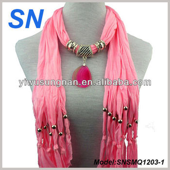 Latest fashion new design agate pendant scarf
