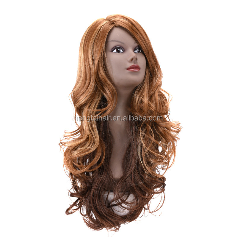 Natural Flaxen Wigs for Women Long Cheap Harajuku Cosplay Synthetic Curly Lolita Wig Party Female Peruca Pelucas
