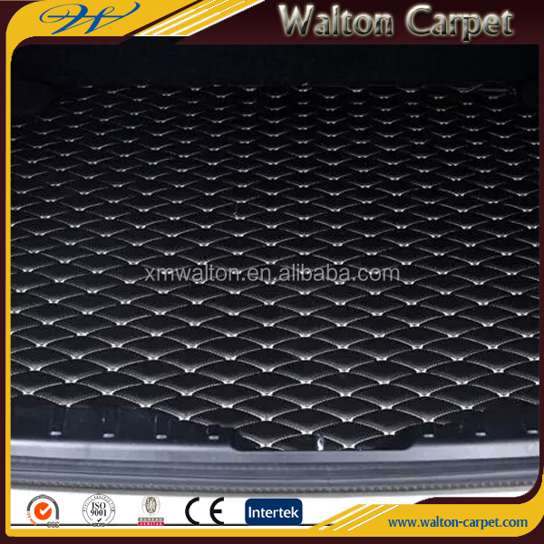 Best quality 3D leather rhombic interlocking non slip truck carpet for car