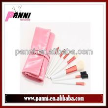 Soft goat hair white handle brush 7pcs face make up brushes in lovely pink bag