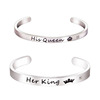 Cheap Couple Bracelets With Decoration Stainless Steel Her King His Queen Gold Bracelets