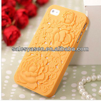3D PC rose plastic mobile phone case for iphone 5