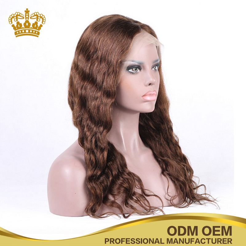wholesale dark brown deep wave 100 Indian human hair women full lace wig