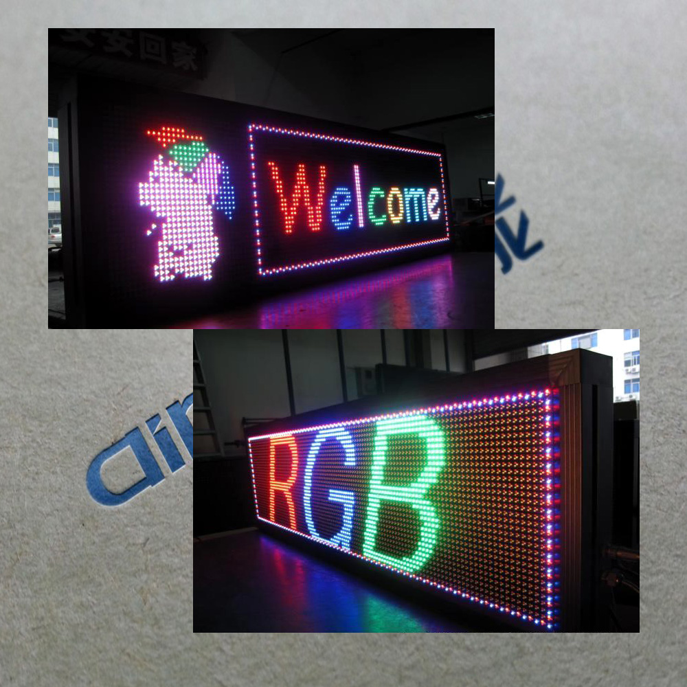 Factory price P10 Red green and yellow color world languages led moving light sign,semi outdoor led moving sign display