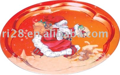 Round flower shaped tin tray
