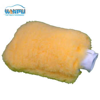 Super quality double sides bigger more thickness wool car wash gloves water absorption car gloves wool car washing mit