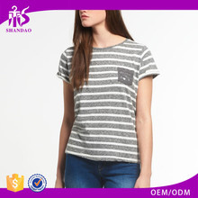 2017 Guangzhou Shandao Women Summer Casual Striped Short Sleeve Round Neck 180g 100% Cotton Different Types Of T Shirts