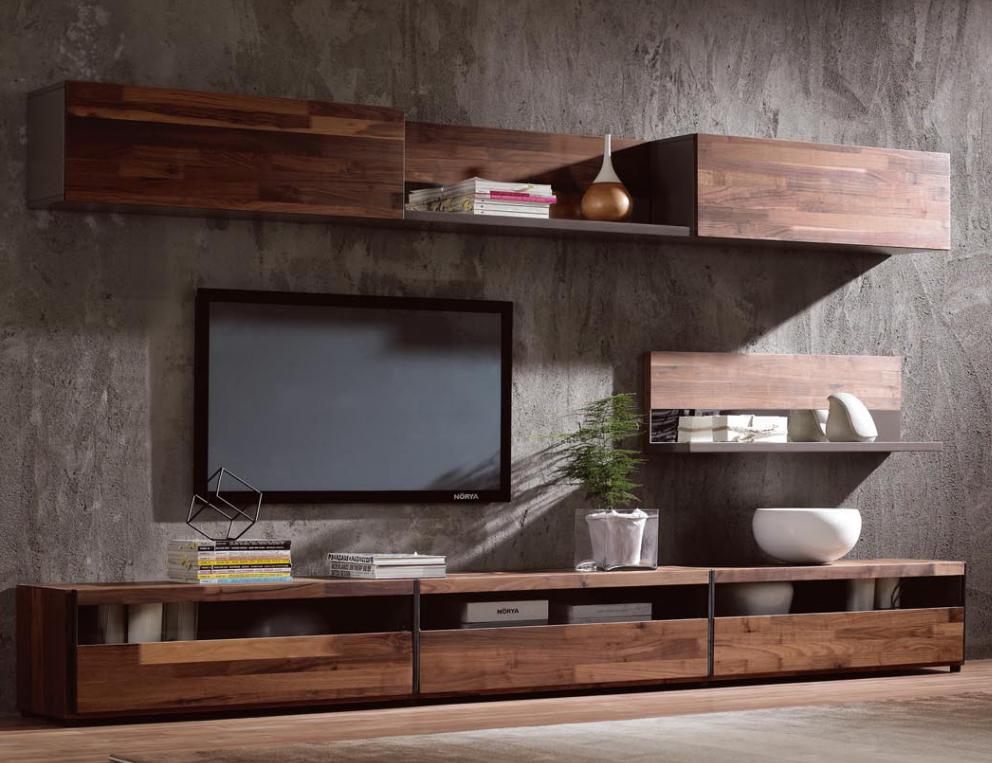 Modern Simple Tv Stand,Walnut Wood Veneer Tv Cabinet - Buy ...