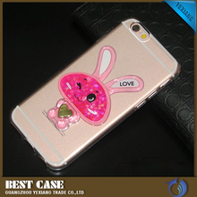 best selling products hot 3D cute rabbit glitter moving liquid flowing quicksand star mobile phone case for iPhone 4 4s