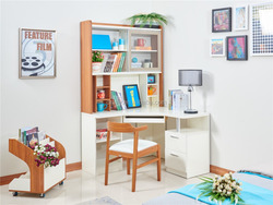 Modern glossy white shining and teak color workstation/desk set