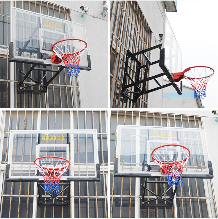 Wall mounted basketball backboard with acrylic backboard pad