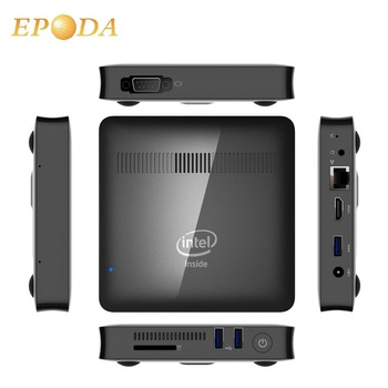 Newest 4GB DDR3 Memory 64GB SSD Windows Intel Apollo Lake Small Desktop PC with VESA Mount and RJ45 LAN port