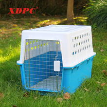 Metal mesh design plastic doghouse animal pet cat dog travel carrier transport box cage