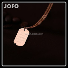 Rose Gold Plated Mens Tags Pendant Necklace Stainless Steel 316L Men Jewelry