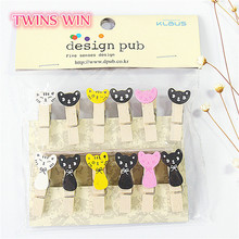 Ex-factory price office decoration home supplies cartoon cat wooden clip 35mm 12pcs + 2 meters rope /OPP bag wire spring clip