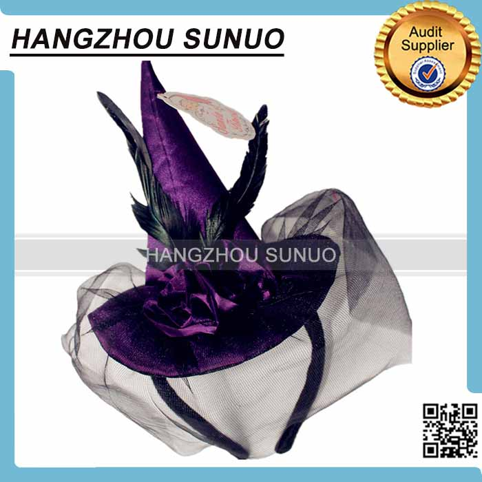 custom crazy party gauze Halloween witch hat