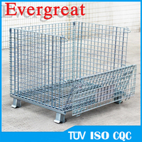 foldable pallet metal crate front drop gate wire mesh cages