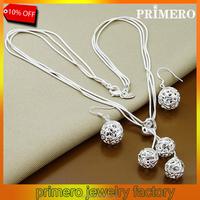 PRIMERO high quality trendy jewelry, 925 Sterling Silver jewelry,925 silver necklace earrings jewelry set hollow three ball set