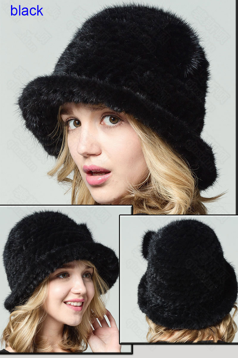 mink fur hat black 1