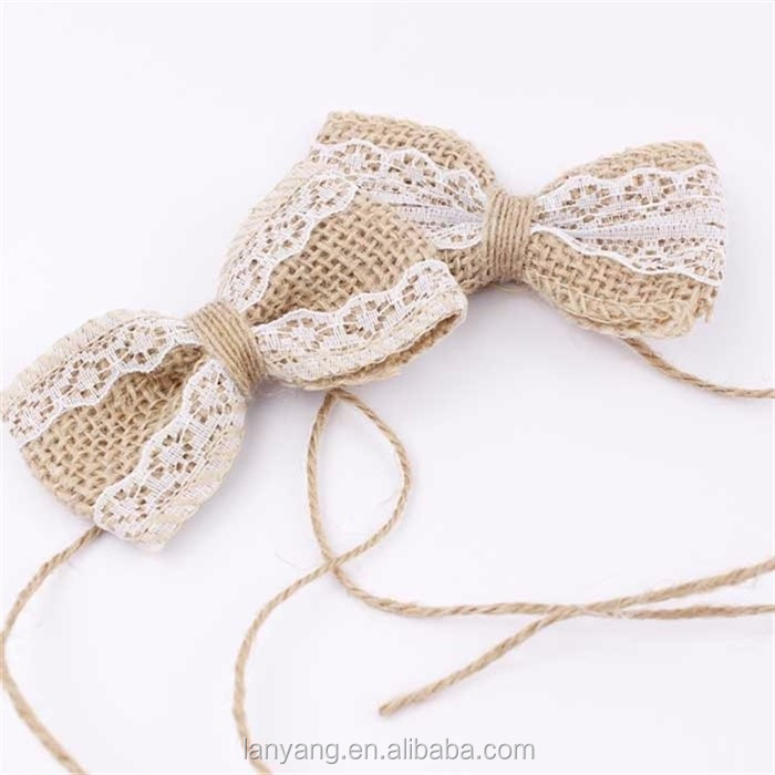 Small Burlap and Lace Hair Bow-Rustic Wedding Supplies Decoration Jute Burlap Bow