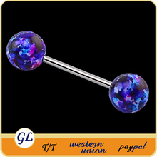 Colorful acrylic ball body jewelry industrial piercing barbell sizes