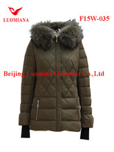 wholesale ladies jackets padding women winter long down cotton coats with hood